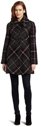 Larry Levine Women's Plaid Swing Coat