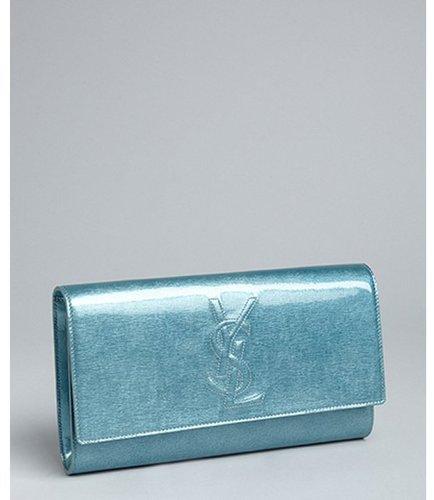 Yves Saint Laurent azure patent leather 'Belle De Jour' flap clutch