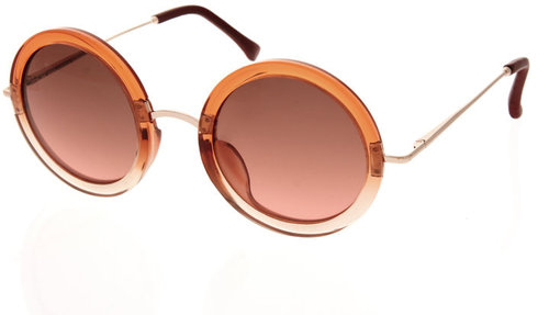 The Row Leather Oversized Round Sunglasses