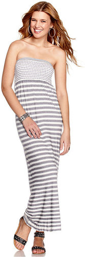 JJ Basics Dress, Strapless Striped Maxi