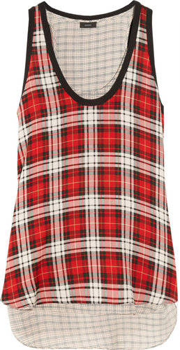 Joseph Plaid silk-georgette top