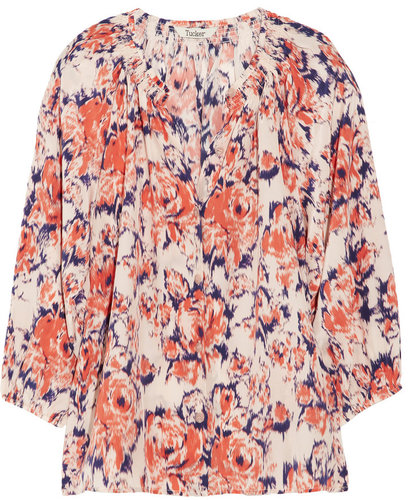 Tucker Signature printed silk crepe de chine blouse