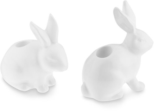 Ceramic Bunny Tiny Taper Holders, Set of 2