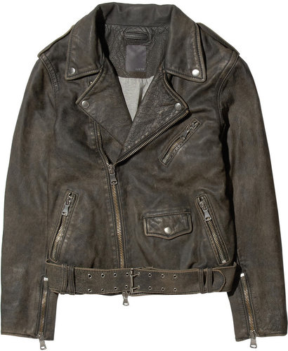 Lot78 Washed-leather biker jacket