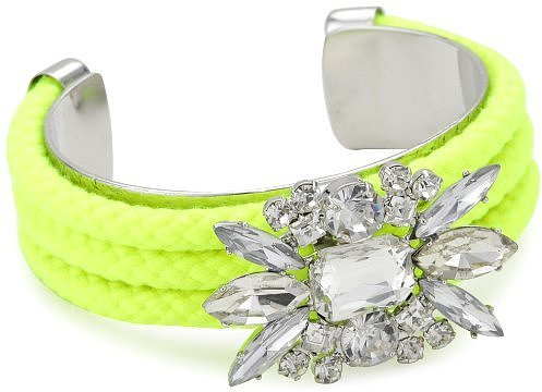 "nOir ""Jaipur"" Neon Yellow-Color and Silver Crystal Cord Cuff Bracelet"