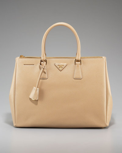 Prada Saffiano Lux Top Handle Tote, Sand
