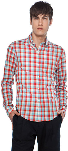 Band of Outsiders Button Down Collar Shirt in White/Blue/Red Broadcloth Check