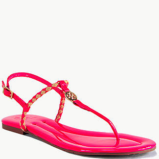 Tory Burch - Aine Thong - Neon Pink Patent Leather Woven Flat Thong Sandal