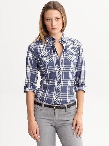 Soft-Wash fitted plaid shirt