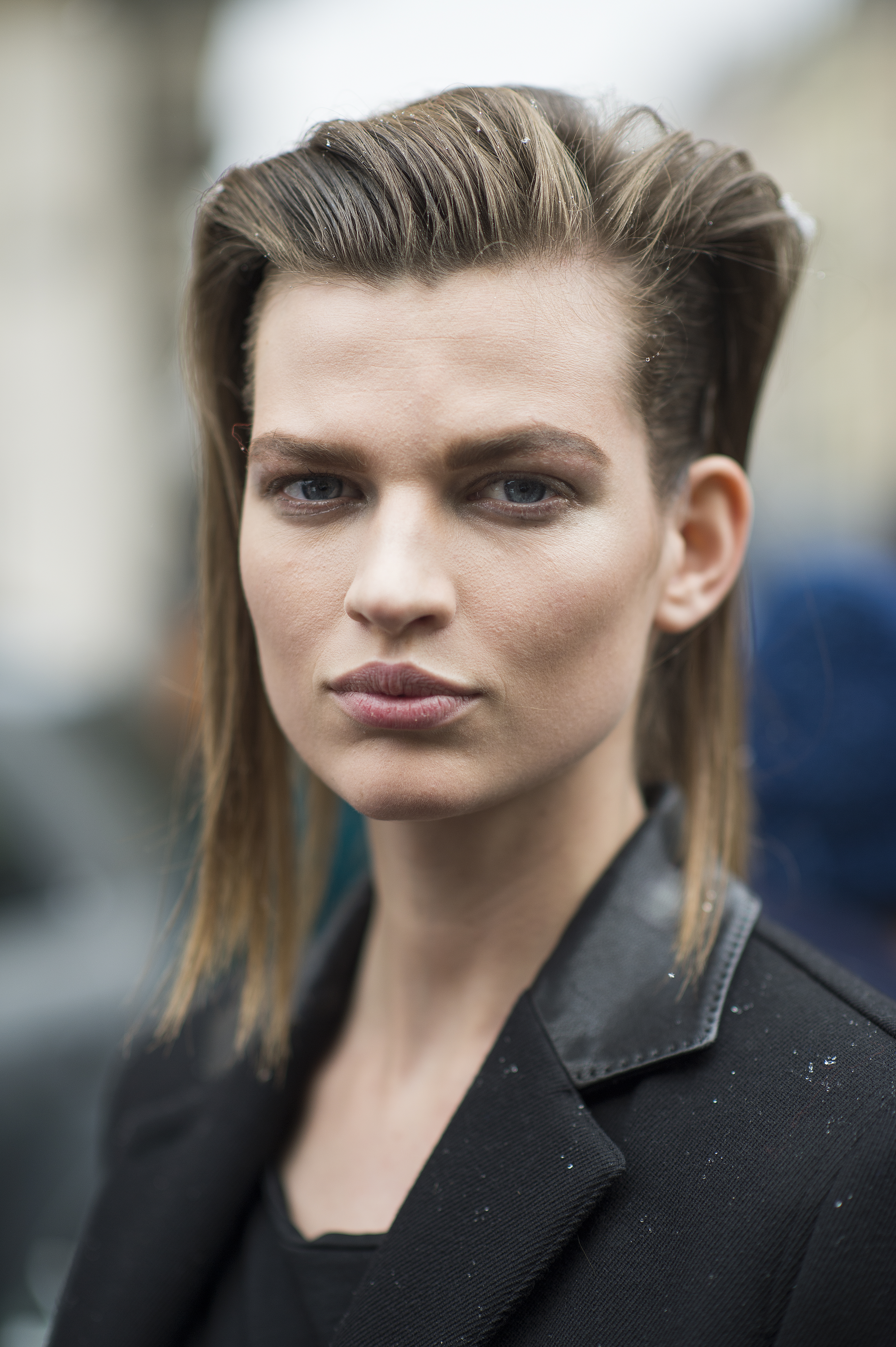 Bette Franke Grungy hair and muted lips worked in the best way for