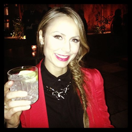 Stacy Keibler gave a cheers with her drink on Friday in LA. Source: Instagram user stacykeibler
