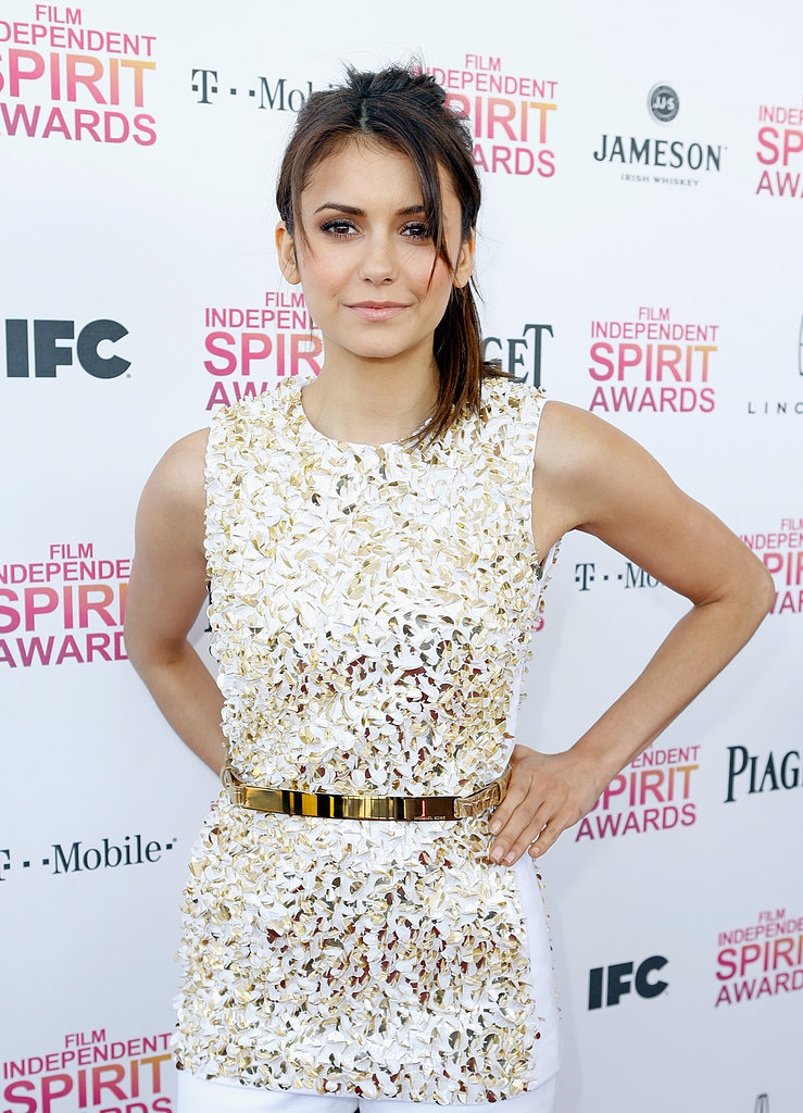 Nina Dobrev on the red carpet at the Spirit Awards 2013.