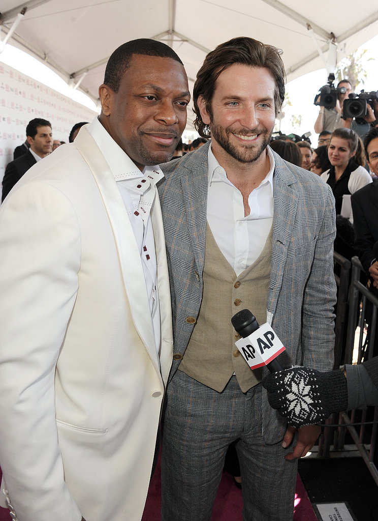 Chris Tucker and Bradley Cooper on the red carpet at the Spirit Awards 2013.
