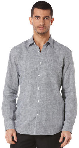 Long Sleeve 100% Linen 1 Pocket Gingham Shirt