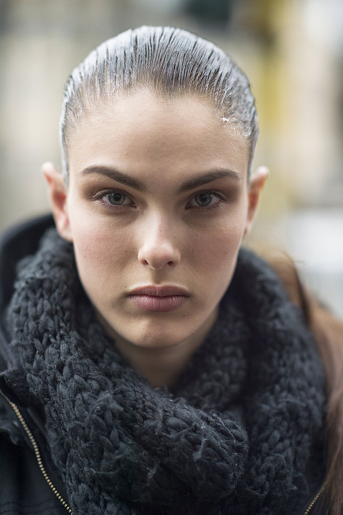 A slicked-back style worked oh-so well on Jessica Brown. Source: Le 21ème | Adam Katz Sinding