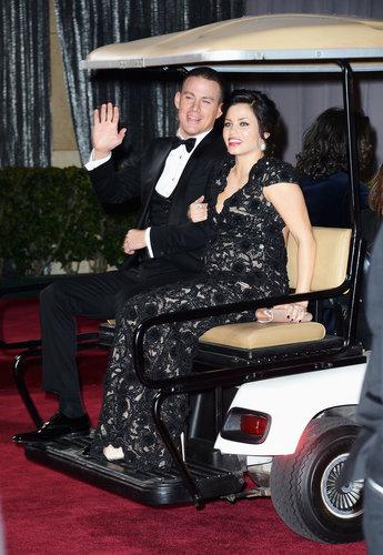Channing Tatum and Jenna Dewan got a ride on a golf cart after the Oscars.