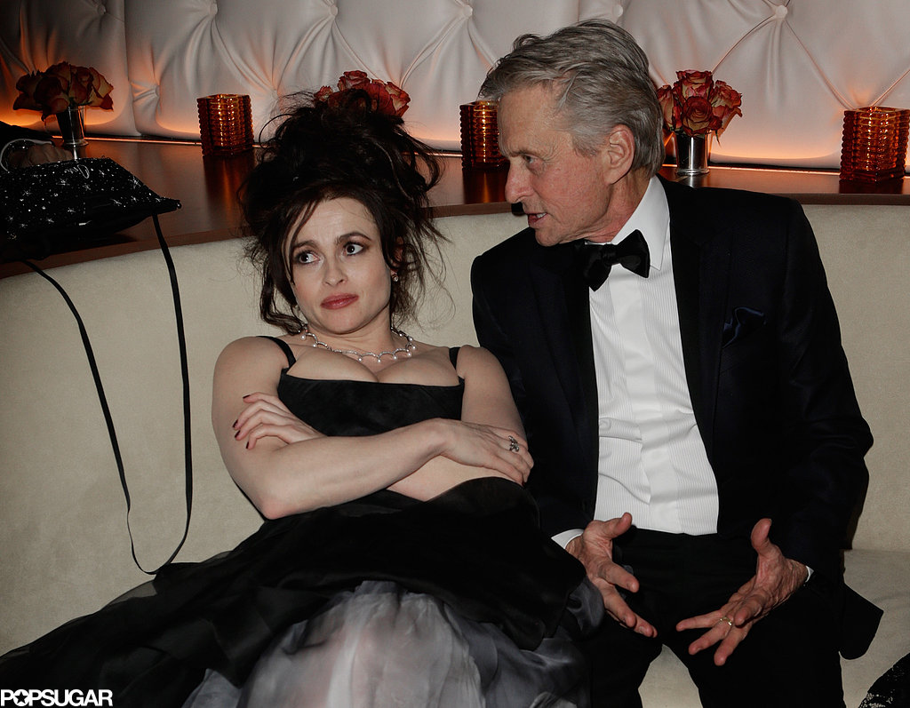 Helena Bonham Carter and Michael Douglas chatted at Vanity Fair's Oscar after party.