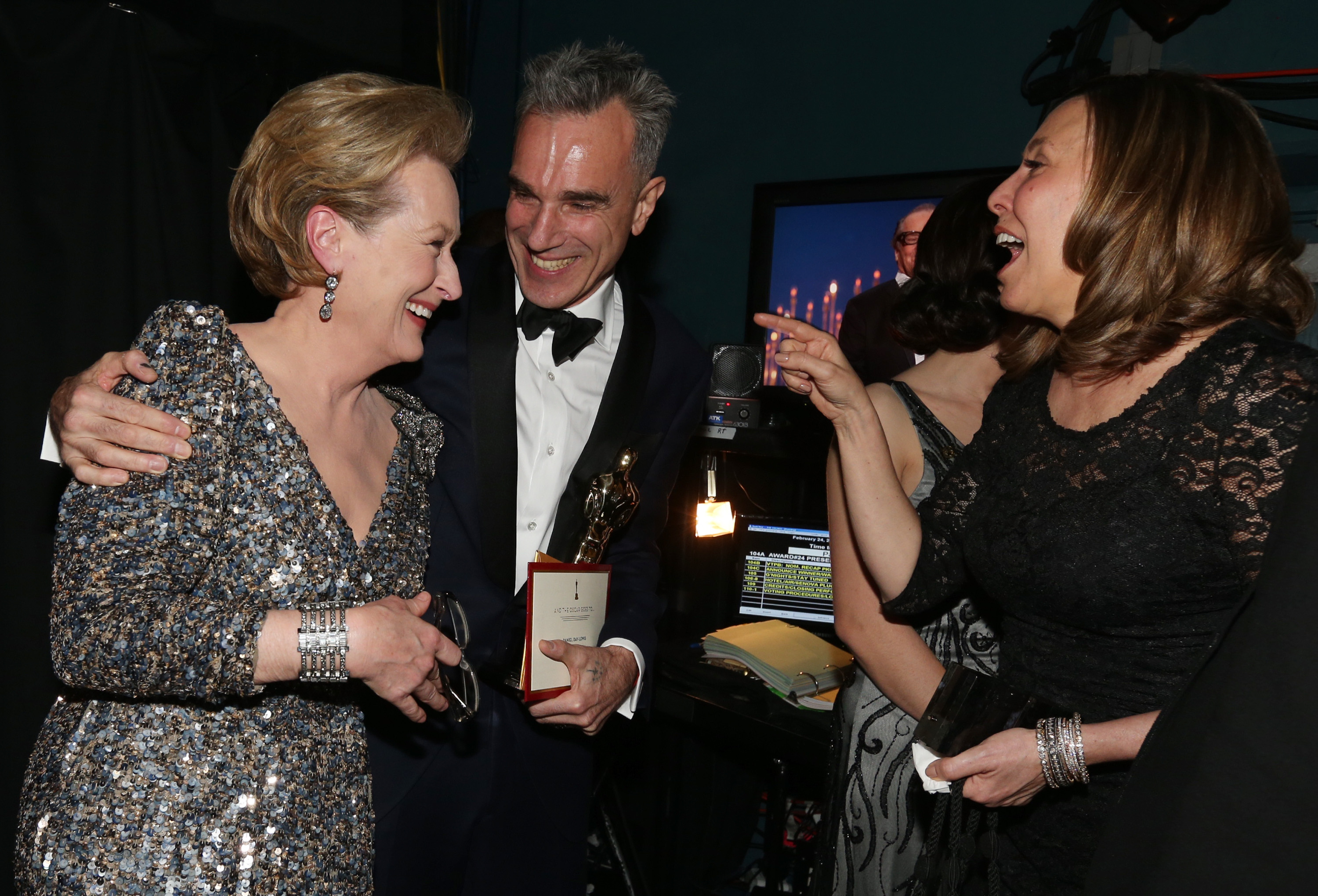 Meryl Streep and Daniel Day-Lewis shared a moment backstage.