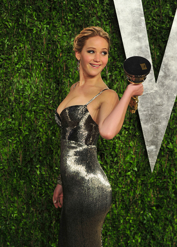 Jennifer Lawrence brought her Oscar to the Vanity Fair Oscar party.