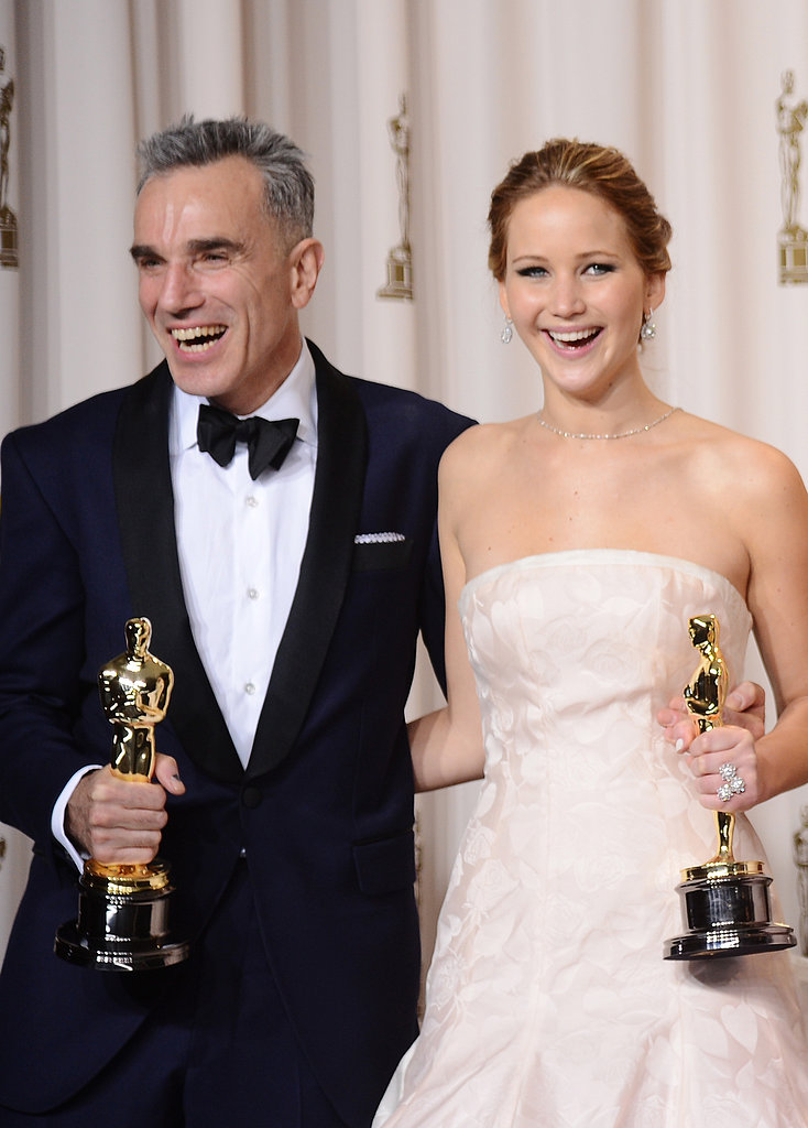 Daniel Day-Lewis and Jennifer Lawrence backstage at the Oscars 2013.