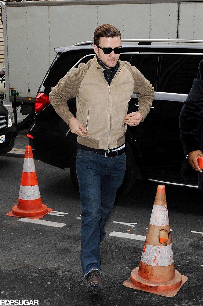 Justin Timberlake kept it casual in Paris.