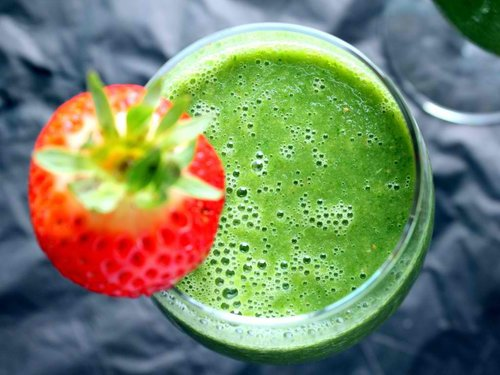 Vegan Detox Green Monster Smoothie {with kale, strawberry, cucumber, & banana}