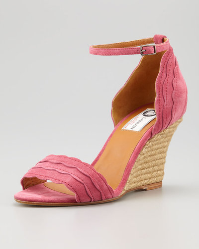 Lanvin Scalloped Suede Wedge Espadrille
