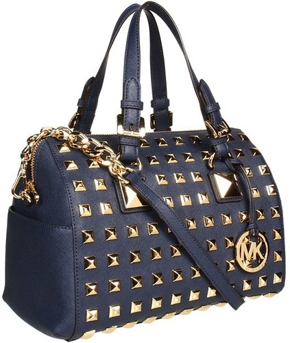 MICHAEL Michael Kors - Grayson Stud Medium Chain Satchel (Navy) - Bags and Luggage