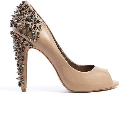 Sam Edelman Nude Lorissa Peeptoe Court Shoe With Studded Heel