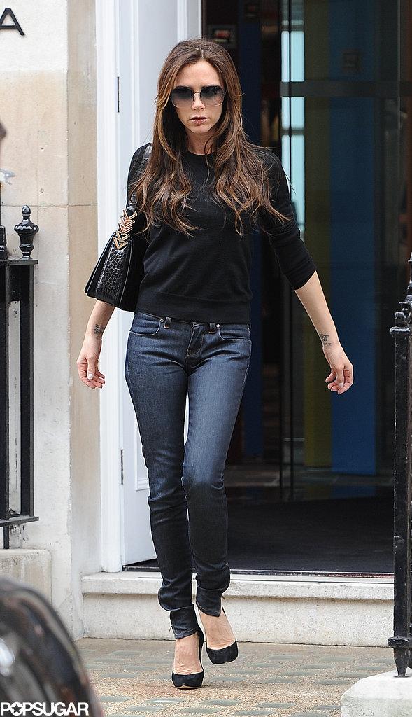 Victoria Beckham went shopping around London.