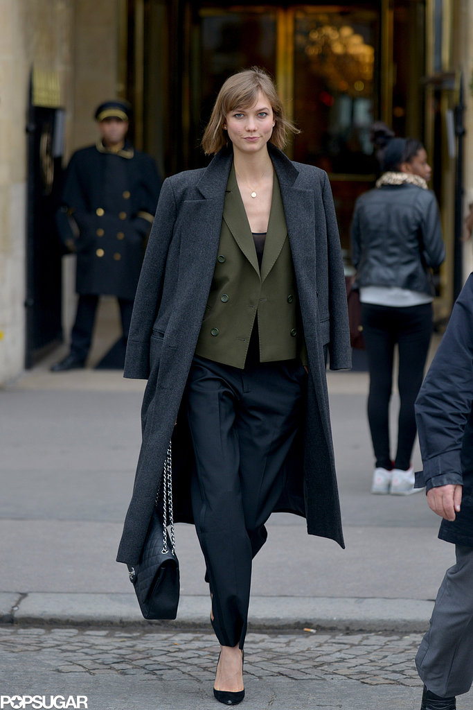 Karlie Kloss mingled with the fashion crowd during Paris Fashion Week in February.