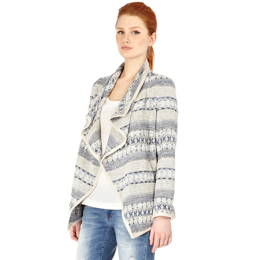 We love the draped silhouette on Warehouse's striped blazer jacket ($125); we'd wear it with a pair of tailored shorts and a slouchy tee.