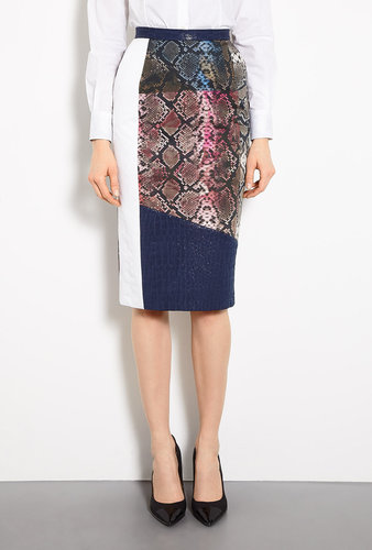 Preen Agatha Printed Panel Georgette Skirt