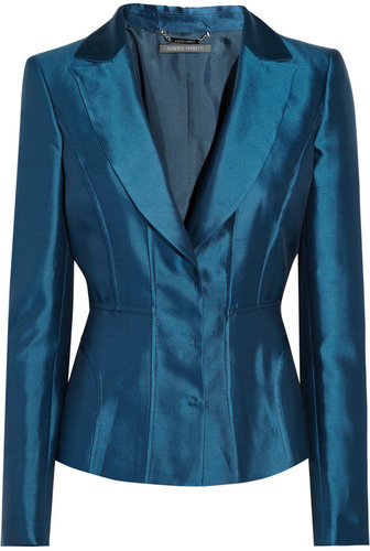 Alberta Ferretti Shantung silk-blend blazer