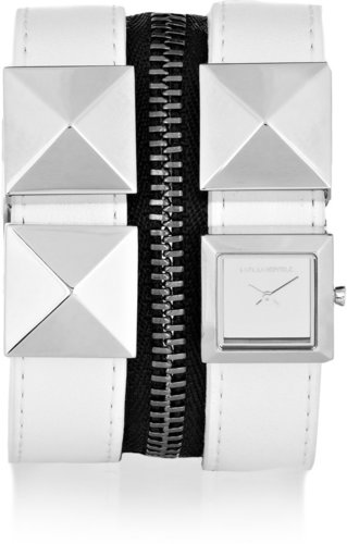 Karl Lagerfeld Karl Zip studded leather watch