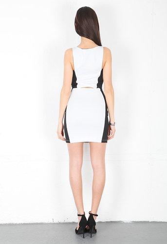 Demi Dress in Off White/Black - by BOULEE