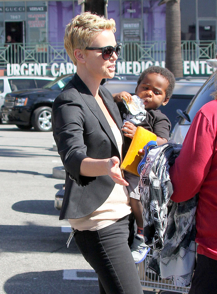 Charlize Theron carried son Jackson to her car after