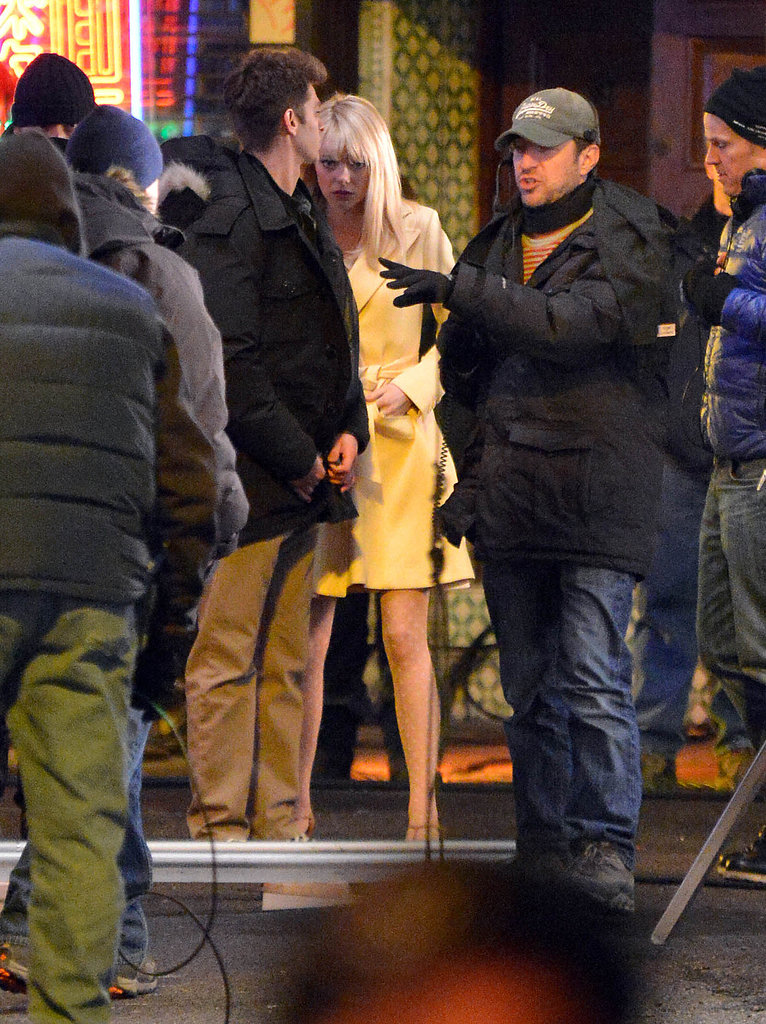 Emma Stone and Andrew Garfield Spend a Late Night on Set