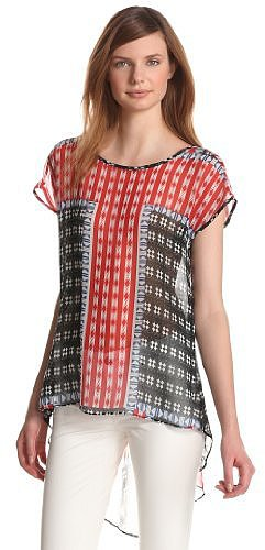 eight sixty Women's Diamond Block Sheer Print Top