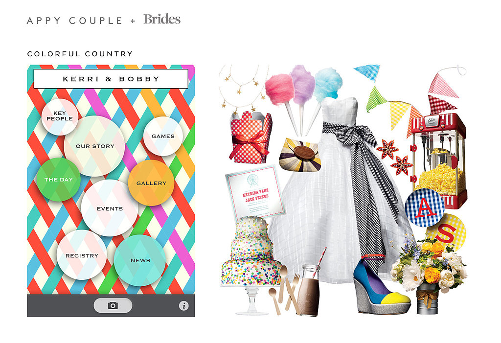 The playful Colorful Country ($28) theme is perfect for a fun-loving couple planning a sun-drenched outdoor wedding. Source: Appy Couple