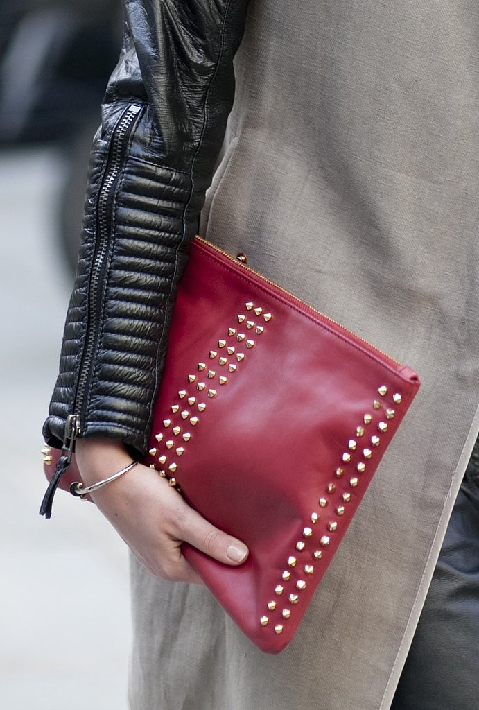 A red studded clutch added flair to neutral separates.