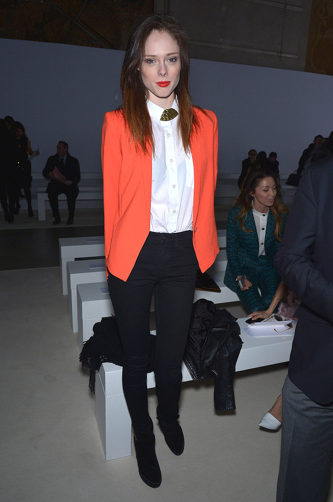 Coco Rocha added a pop of orange to Giambattista Valli's front row at Paris Fashion Week.