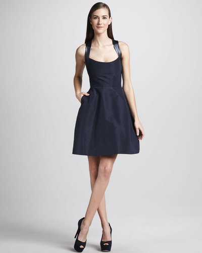 Monique Lhuillier Leather-Strap Sleeveless Cocktail Dress