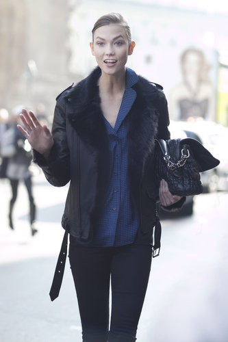 Karlie Kloss layered up in fur and denim.