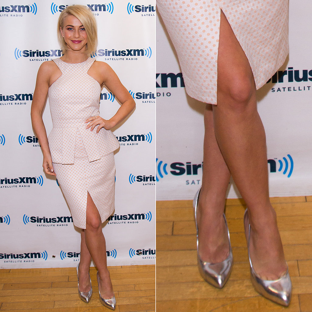 Julianne Hough completed her playful polka-dot peplum dress with silver metallic pumps while visting the SiriusXM studios in NYC.