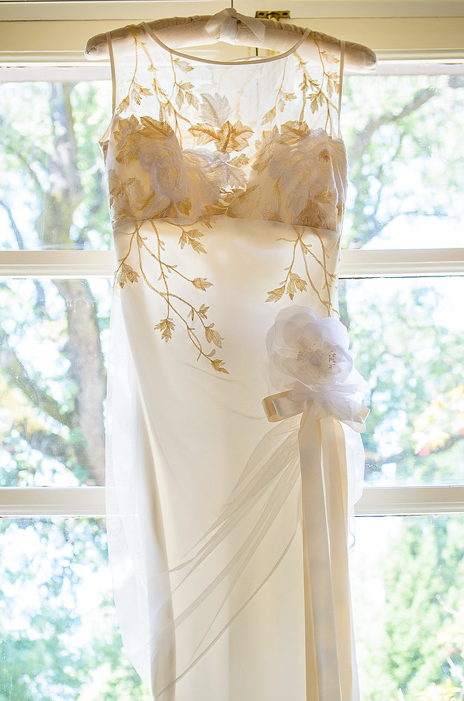 Rather than a color scheme or theme, Courtney's dress set the tone for the wedding. Inspiration from the dress's delicate deco touches began the planning process.  Source: Juliette Tinnus
