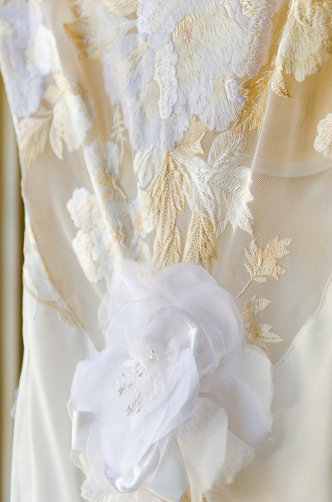 A close-up of the dress' intricate floral detail.  Source: Juliette Tinnus