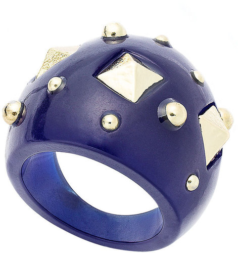 Bar III Ring, Blue Resin Stud Dome Ring