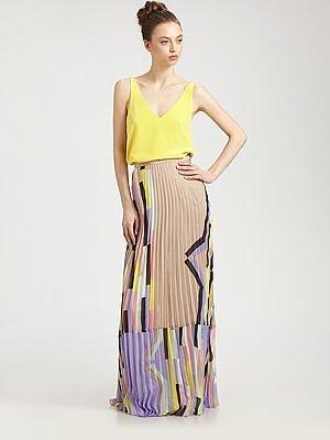Sunray Pleated Silk Chiffon Skirt