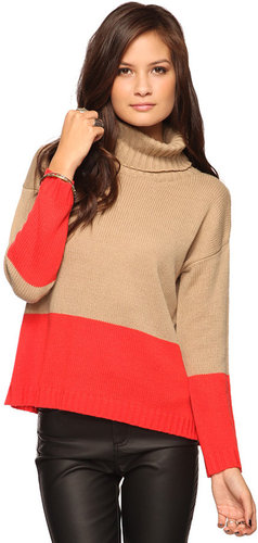 FOREVER 21 Colorblock Turtleneck Sweater